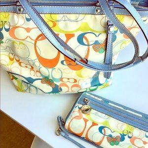 Retro COACH tote/wallet set ❤️